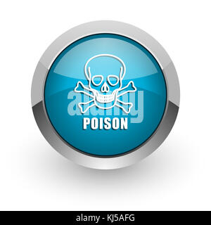Poison skull blue silver metallic chrome border web and mobile phone icon on white background with shadow - Stock Photo