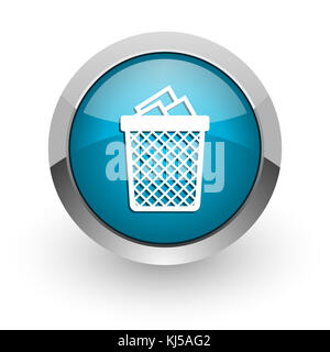 Trash can blue silver metallic chrome border web and mobile phone icon on white background with shadow - Stock Photo