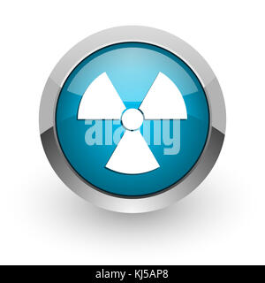 Radiation blue silver metallic chrome border web and mobile phone icon on white background with shadow - Stock Photo