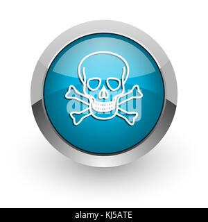 Skull blue silver metallic chrome border web and mobile phone icon on white background with shadow - Stock Photo