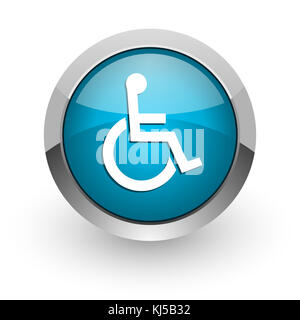 Wheelchair blue silver metallic chrome border web and mobile phone icon on white background with shadow - Stock Photo