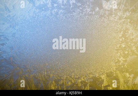 Frosty patterns on glass. Place for text. Winter mood. On a Christmas card. - Stock Photo