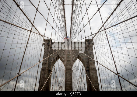 Brooklyn Bridge, New York City close up architectural detail - Stock Photo