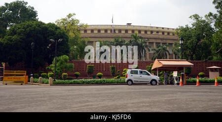 The Lok Sabha, Delhi, India (House of the People) is the Lower house of India's bicameral Parliament - Stock Photo