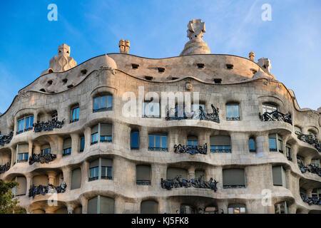 La Pedrera, Casa Milà house designed by Antonio Gaudi, Barcelona, Spain. - Stock Photo