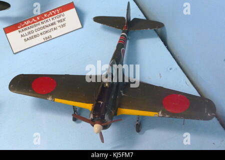 Model of a Nakajima Ki-43 Hayabusa, a single-engine land-based tactical fighter used by the Imperial Japanese Army - Stock Photo