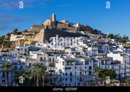 Ibiza Town and the cathedral of Santa Maria d'Eivissa, Ibiza, Balearic Islands, Spain. - Stock Photo
