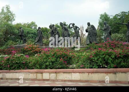 Girah Murti (Eleven Figures); Salt Satyagraha Memorial, at Willingdon Crescent at Sardar Patel Marg, New Delhi (India). - Stock Photo