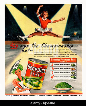 1947 magazine advertisement for Benedict Processed Peas. The peas were produced by United Canners of London. The - Stock Photo