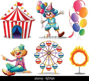 Illustration of a circus tent, clowns, ferris wheel, balloons and a ring of fire on a white background - Stock Photo