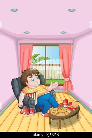Illustration of a fat young man in front of a table full of foods - Stock Photo