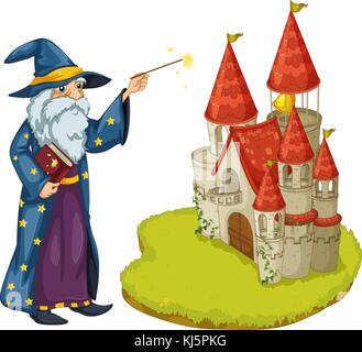 Illustration of a wizard holding a book and a magic wand in front of the castle on a white background - Stock Photo