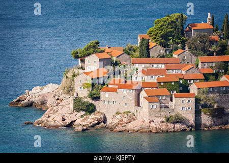 Detail of Sveti Stefan island village in Montenegro. - Stock Photo