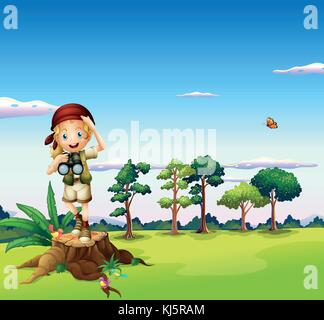 Illustration of a  girl with a telescope standing above a stump - Stock Photo