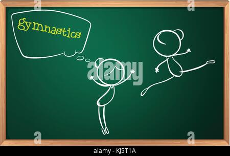 Illustration of a blackboard with a drawing of two girls doing gymnastics on a white background - Stock Photo