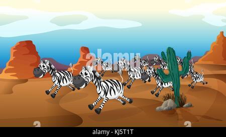 Illustration of a group of zebra running at the desert - Stock Photo