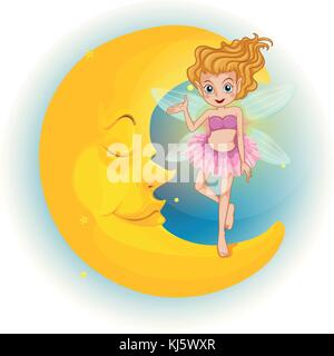 Illustration of a fairy standing on a sleeping half moon on a white background - Stock Photo