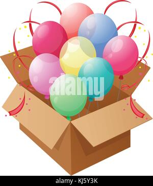 Illustration of the eight colorful balloons inside a box on a white background - Stock Photo