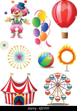 Illustration of a clown playing balls with different circus stuffs on a white background - Stock Photo