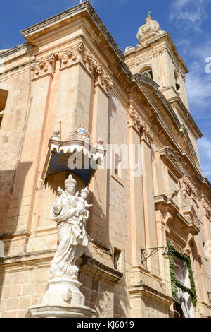 Mary and Jesus statue outside the Church of the Annunciation of our Lady at Mdina on Malta - Stock Photo