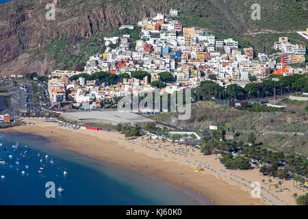 Playa Teresitas at the village San Andres, most beautiful beach on Tenerife, Tenerife island, Canary islands, Spain - Stock Photo