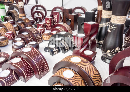 LANZAROTE, SPAIN-4th Nov 2017: Hand made candle holders can be found on sale at the Marina Rubicon market on Monday - Stock Photo
