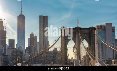 New York City skyline with Brooklyn Bridge - Stock Photo