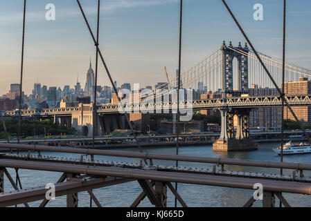 New York City skyline with Manhattan Bridge - Stock Photo
