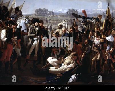 Jean Broc  -  Death of General Desaix at the battle of Marengo, June 14, 1800 - Stock Photo