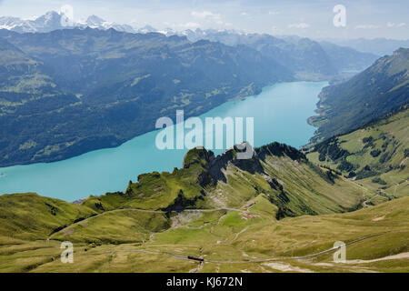 Brienz Rothorn Railway and Lake Brienz from the summit of the Brienzer Rothorn, Switzerland - Stock Photo