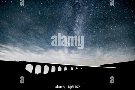 Long exposure of a train passing over Ribblehead Viaduct, whilst the incredible Milky Way rises above - Stock Photo