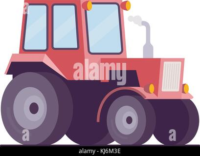 farm tractor, Vector flat style illustration, Isolated on white background, eps10 vector - Stock Photo