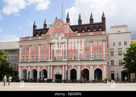 Town hall of Rostock, Mecklenburg-Western Pomerania, Germany, Europe - Stock Photo