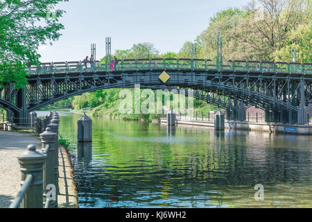 Berlin spring, view of the bridge spanning the Landwehrkanal at the Neuer See entrance to the Tiergarten park, Berlin Germany.