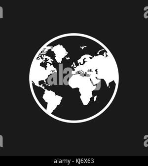 Earth icon / sign in flat style isolated. Earth globe symbol for your web site, logo, app, UI design. Vector illustration. - Stock Photo