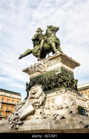 Equestrian statue of King Vittorio Emanuele II at Piazza del Duomo (Cathedral Square). Milan, Province of Milan, - Stock Photo