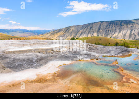 Mineral Hot Pools of Yellowstone National Park. Mammoth Hot Springs Area. - Stock Photo
