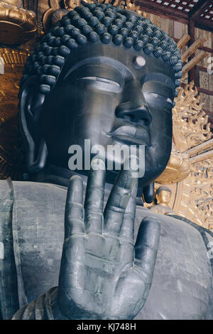 The giant Todaiji Buddha at the Todaiji Temple in Nara, Japan - Stock Photo
