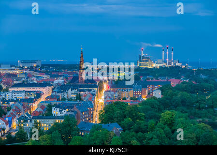 Smart city, renewable energy from biogas plant and wind turbines for the capital of Denmark, Copenhagen - Stock Photo