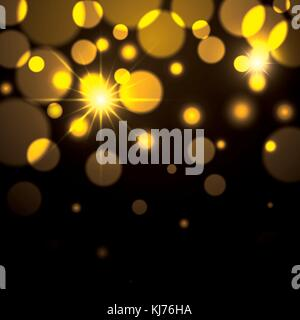 fireworks sparks in yellow color on black background - Stock Photo