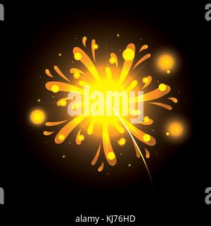 fireworks bursting in yellow color on black background - Stock Photo