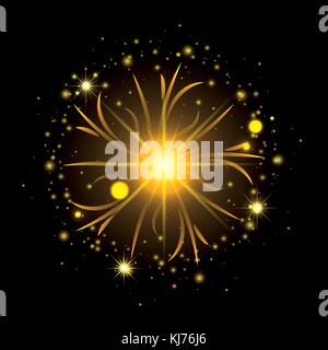 fireworks bursting in shape of sun with yellow flashes on black background - Stock Photo
