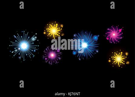 fireworks bursting in glowing multi colours on black background - Stock Photo