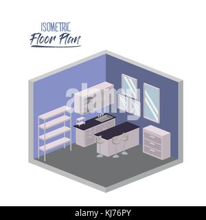 isometric floor plan of home kitchen room interior colorful silhouette - Stock Photo