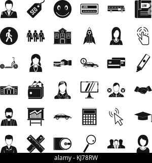 Action icons set, simple style - Stock Photo