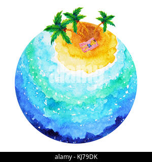 man sleep sunbathe under coconut tree in vacation cartoon watercolor painting - Stock Photo