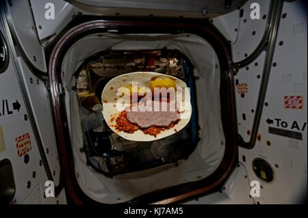 Expedition 53 American astronaut Randy Bresnik took a photo of his Mr. Bill in Space Sandwich floating around the - Stock Photo