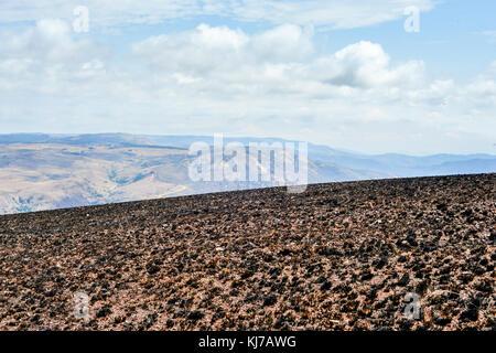 Scorched Landscape in Hhohho, Swaziland outside of Ngwenya Iron Ore Mine. - Stock Photo