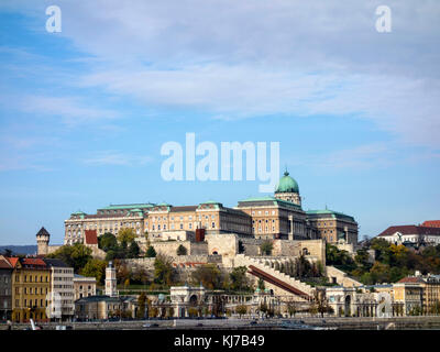 Buda castle, seen from the Pest side. - Stock Photo