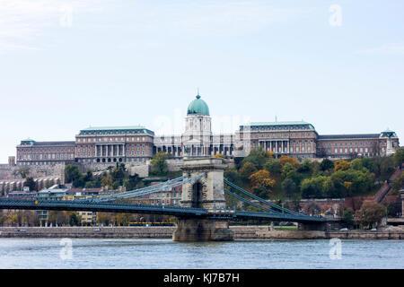 Buda Castle with Széchenyi Chain Bridge. Budapest - Stock Photo